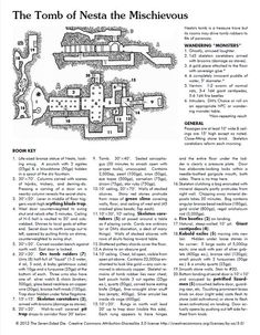 """""""The Tomb of Nesta the Mischievous"""", by The Seven-Sided Die: """"Most Bountiful"""", 2012 One Page Dungeon contest organized by Alex Schroeder Dungeons And Dragons Homebrew, D&d Dungeons And Dragons, Dnd Stats, Adventure Rpg, Larp, Rpg Map, Dungeon Maps, Fantasy Map, Nesta"""