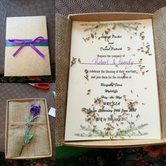 Rustic handmade wedding invitations, complete with satin flowers, dried lavender for fragrance and a lot of teamwork!