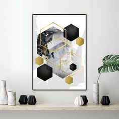 Art you print yourself par UrbanEpiphanyPrints sur Etsy Black White And Gold Bedroom, White And Gold Decor, Black White Gold, Gold Rooms, Gold Walls, Gold Office Decor, Contemporary Wall Decor, White Wall Art, Marca Personal