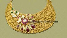 Broad Collar Choker in Gold   Jewellery Designs