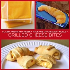 Sliced American Cheese   Package of Crescent Rolls = Grilled Cheese Bites