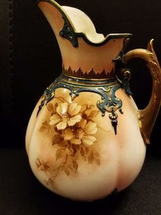 """Hadleys Faience Worcester Floral creamer pitcher 6 1/2"""" repaired"""