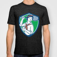 Female Tennis Player Racquet Vintage Shield Retro T-shirt