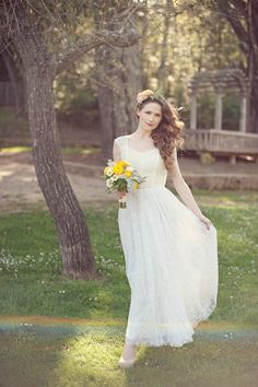 Ankle length outdoor/destination wedding dress, lace applique, Romatic wedding gown, special for sunmmer and fall weddings. $214.00, via Etsy.
