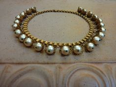 Vtg Antique Edwardian Glass Pearl Solid Brass Filigree Flower Necklace Choker | eBay