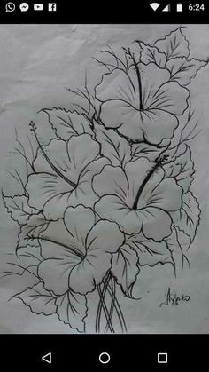 Best Pics Hibiscus dessin Suggestions Improve sultry hibiscus regarding a large, vivid appearance in your yard, porch or perhaps patio. Fabric Paint Designs, Flower Sketches, Drawing Flowers, Hibiscus Drawing, Flower Drawing Tutorials, Paint Flowers, Art Sketches, Pencil Art Drawings, Painting Patterns