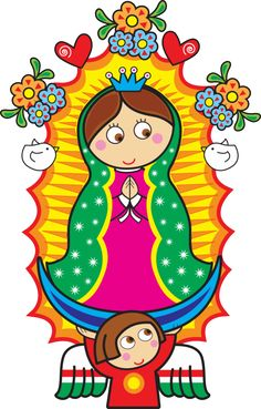 Distroller Virgencita Vector by on DeviantArt All Things Cute, Mexican Art, Mother Mary, Cute Images, First Communion, Kirchen, Folk Art, Arts And Crafts, Clip Art