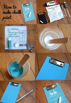 """Vivid Please: DIY chalk paint, with memo/to-do list tutorial.  One note: I'd suggest using a paint pen (instead of a paint brush) to add the white lines and """"to do"""" heading.  :o)"""