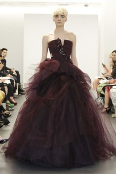2013 wedding dress trend two tone bridal gowns Vera Wang maroon ballgown (Love this one!!)