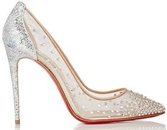 """e77bb20b0c3b Christian Louboutin """"Follies Strass"""" Crystal-Embellished Pumps in Silver"""