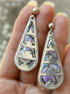 Sterling Silver Abalone Earrings - Vintage Mexico