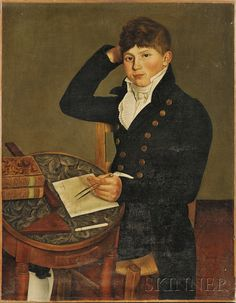 Possibly American School, Early 19th Century Portrait of a Young Man Seated at a Table.