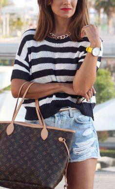 hm, black, white, womens, stripe, short, sleeve, knit