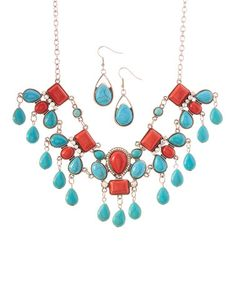 Another great find on #zulily! Coral & Turquoise Statement Necklace & Teardrop Earrings #zulilyfinds