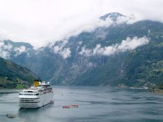 Ship entering Fjord