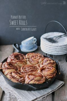 Peanut Butter Sweet Rolls with Chocolate Glaze | Baking a Moment