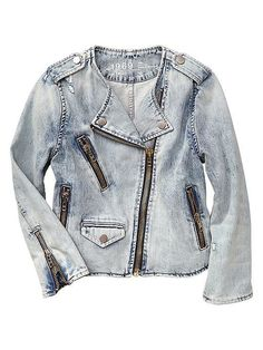 Gap 1969 collarless bleached denim biker jacket #jeanjacket