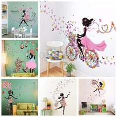 Home Wall Art butterfly girl removable wall art sticker vinyl decal diy room