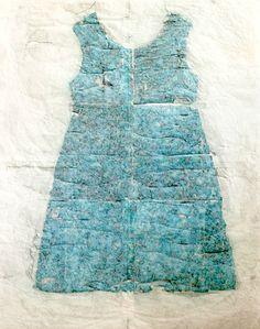 Magda Huygens werk van kleedje gemaakt met gemengde tekentechnieken