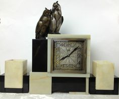 Original Leon Hatot ATO Art Deco Clock with Owl Finial and Matching Garnitures | Collectors Weekly