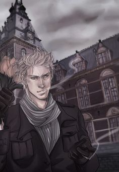 Willem (head-canon name for the Netherlands) outside the Rijksmuseum in Amsterdam - Art by trevo4folhas.tumblr.com