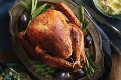 Dressed in a classic array of herbs, this herb-rubbed roast turkey with fresh sage gravy is a Thanksgiving bird you can enjoy for years to come. Our sage-infused gravy is absolutely delicious! Photo by James Tse. Canadian Thanksgiving, Thanksgiving Dinner Recipes, Thanksgiving 2016, Holiday Meals, Whole Turkey Recipes, Turkey Meals, Cooking Tips, Cooking Recipes, Pumpkin Pie Recipes