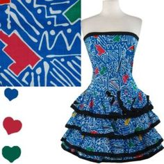 Vintage 80s Strapless Blue TIERED Prom PARTY Dress L Glam Ruffle Full Skirt Bow