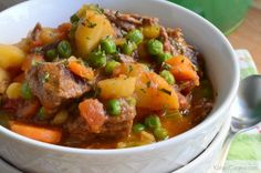 Enjoy a hearty one pot beef stew that is cooked on the stove top in just a few short hours.