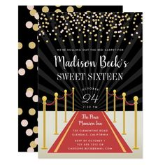 Hollywood Red Carpet Sweet Six Invitation Party Birthday Parties