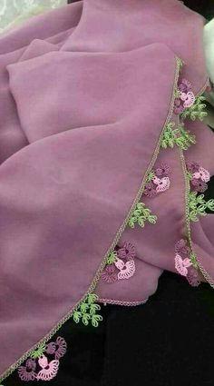 Pink Sake Floral Hijab and Towel Edge Needlework Lace Model - Tatting Ideen 2019 Thread Crochet, Crochet Lace, Crochet Stitches, Needle Tatting, Needle Lace, Viking Tattoo Design, Sunflower Tattoo Design, Lace Design, Baby Knitting Patterns