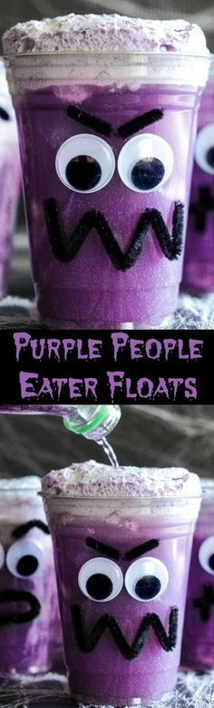 Purple People Eater Floats! Create this fun Halloween treat with the kids with pipe cleaners, hot glue, plastic cups, vanilla ice cream and purple … | Pinterest