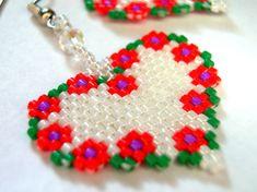 Flower Heart  Delica Seed Beaded Dangle Earrings. $16.00, via Etsy.