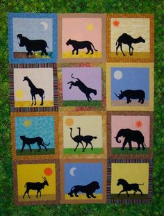 African Safari Animals Quilt Pattern - I love how they are done in silhouette Mais African Art Projects, African Crafts, Vbs Crafts, Camping Crafts, Camping Activities, African Animals, African Safari, Animal Silhouette, Silhouette Art