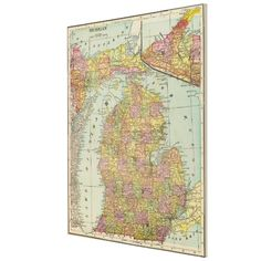 Vintage Map of Michigan (1909) Canvas Print