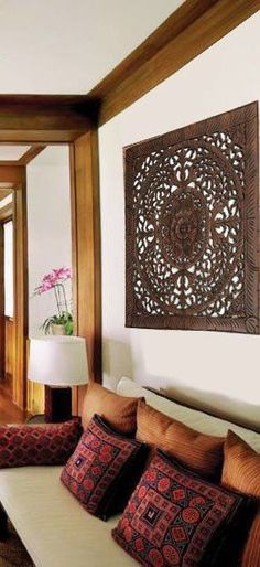 """Elegant Wood Carved Wall Plaque. Wood Carved Floral Wall Art. Rustic Tropical Home Decor. Large Wood Carving Wall Art. Set of 3 Decorative Thai Wall Relief Panel Sculpture. 36""""x36""""x0.5"""" Color Options Available"""
