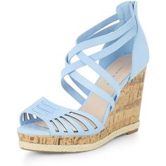 Wide Fit Pale Blue Laser Cut Woven Trim Wedges ($20) ❤ liked on Polyvore