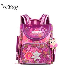 0d065b23a6d5 Russian Children School Bags ღ ღ Pink Flower Printed Waterproof Orthopedic  Nylon ̿̿̿(•̪ ) Kids Girls Backpack 3D Schoolbag Mochila InfantilRussian ...