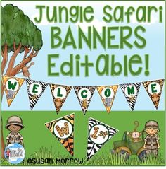 Jungle Theme Banners Editable! - Use these editable banners to bring your jungle or safari theme classroom to life! Your preschool, Kindergarten, 1st, 2nd, 3rd, 4th, 5th, or 6th grade classroom or homeschool will POP with this great 72 page resource! You can edit them to change the font, color, and size to meet your unique needs. Click through for all the details now! $