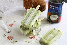 Matcha Coconut Popsicles (Gluten-Free, Dairy-Free, Vegan) with Coconut Milk, Matcha Powder, Stevia Extract. Vegan Dessert Recipes, Tea Recipes, Cooking Recipes, Cold Desserts, Healthy Desserts, Healthy Recipes, Coconut Extract Recipes, Matcha Powder Recipes, Coconut Milk Popsicles