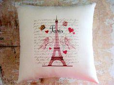 Valentine Pillow Cupid Paris Hearts French by parismarketplace, $21.00