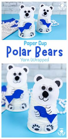 This yarn wrapped Paper Cup Polar Bear Craft is very cute and fun. It's a lovely winter craft for kids to build fine motor skills and to go with Arctic study units. #kidscraftroom #kidscrafts #polarbearcrafts #arcticcrafts #wintercrafts #papercupcrafts Winter Activities For Kids, Winter Crafts For Kids, Easy Crafts For Kids, Toddler Crafts, Kid Crafts, Preschool Art Projects, Preschool Crafts, Preschool Activities, Paper Cup Crafts