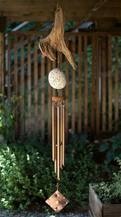 Wind Chime Driftwood Beach Stone Copper - Coast Chimes - 2