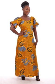 Orange and Blue African Print , Orange and Blue African Print for casual wear dress does not have a zipper at the back, loose fit design around neckline does not extend to the back. Black Nativity, Ankara Styles, Casual Wear, Africa Style, Sari, Ankara Fashion, African Prints, Couture, Orange