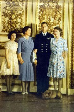 mid 1940s | British Royal Family ~ Princess Margaret, Queen Elizabeth, King George VI and Princess Elizabeth