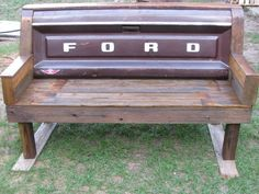 Rustic Handmade Handcrafted Old Ford Tailgate Bench Barnwood Reclaimed Wood