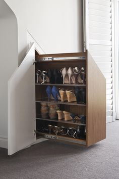 Innovative Hidden Under Stairs Storage Showing Cabinets Storage Solution With Pullout System Shoes Saving With Four Shelves Option Ideas. Maximize Your Space With Smart Hidden Under Stairs Storage Ideas Eaves Storage, Loft Storage, Smart Storage, Hidden Storage, Bedroom Storage, Storage Rack, Diy Storage, Storage Spaces, Outdoor Storage