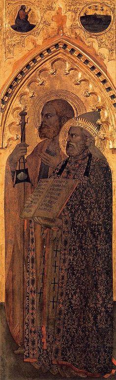 Giovanni da Milano - Polittico di Ognissanti: Santi Giacomo il Maggiore e Gregorio - c. 1360-1365 - tempera e oro su tavola - Galleria degli Uffizi, Firenze