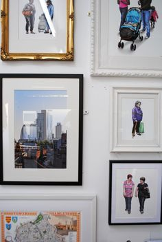 Various framed prints hanging on the wall of my London studio, May 2013
