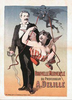"A. DELILLE. ""New Wonder of Professor A. Delille."" Very scarce lithograph"