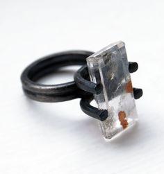Oxidized Sterling Silver Ring. Dendritic Quartz. One of a Kind. SILEX Ring. US Size: 6. Handmade by Maria Goti Joyas.